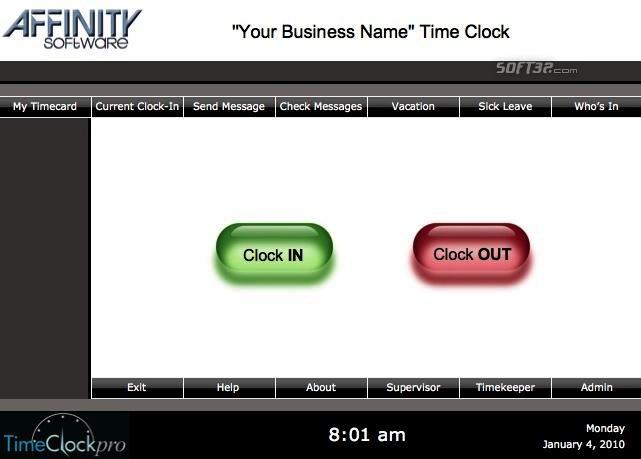 TimeClockpro Windows Screenshot