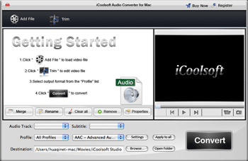 iCoolsoft Audio Converter for Mac Screenshot