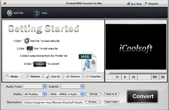 iCoolsoft M4A Converter for Mac Screenshot
