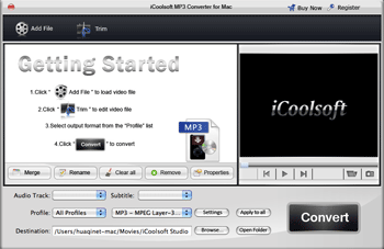 iCoolsoft MP3 Converter for Mac Screenshot
