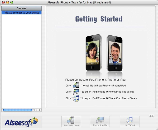 Aiseesoft iPhone 4 Transfer for Mac Screenshot 1