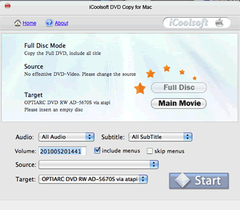 iCoolsoft DVD Copy for Mac Screenshot