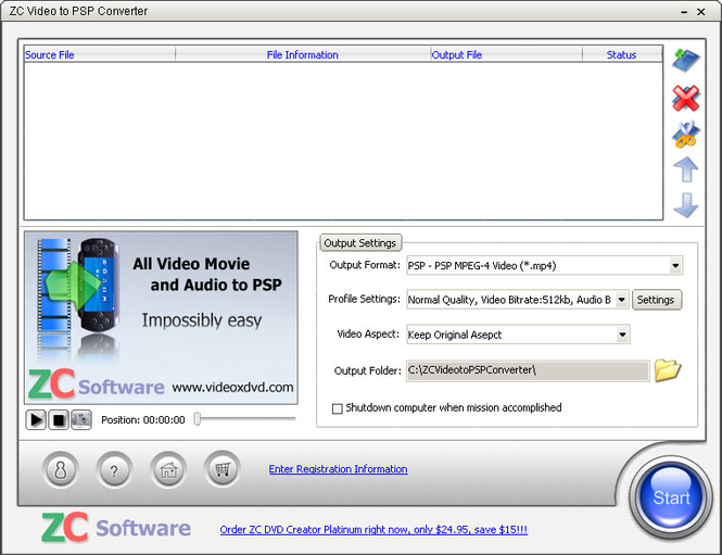 ZC Video to PSP Converter Screenshot