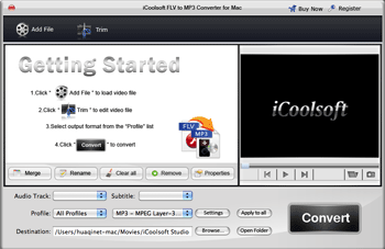 iCoolsoft FLV to MP3 Converter for Mac Screenshot 2