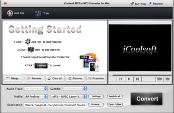 iCoolsoft MP4 to MP3 Converter for Mac Screenshot 2