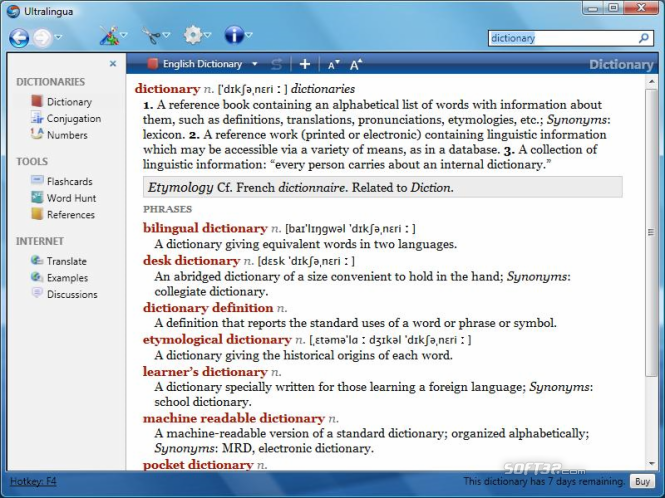 Italian-English Collins Pro Dictionary for Windows Screenshot 2
