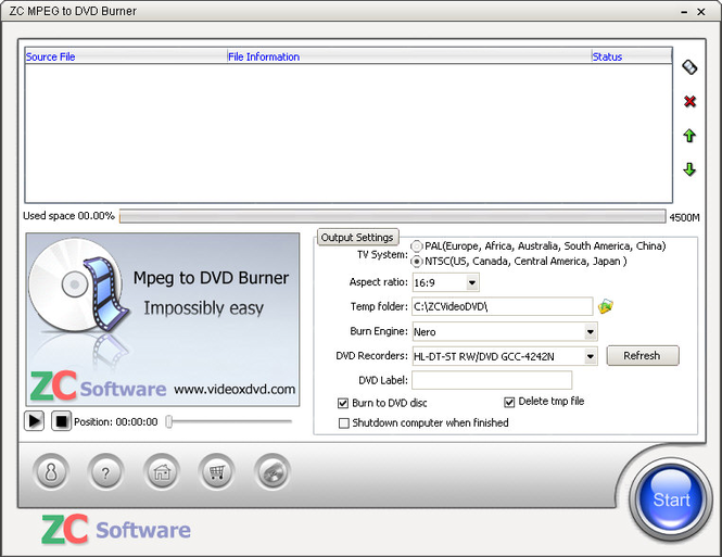 ZC MPEG to DVD Burner Screenshot