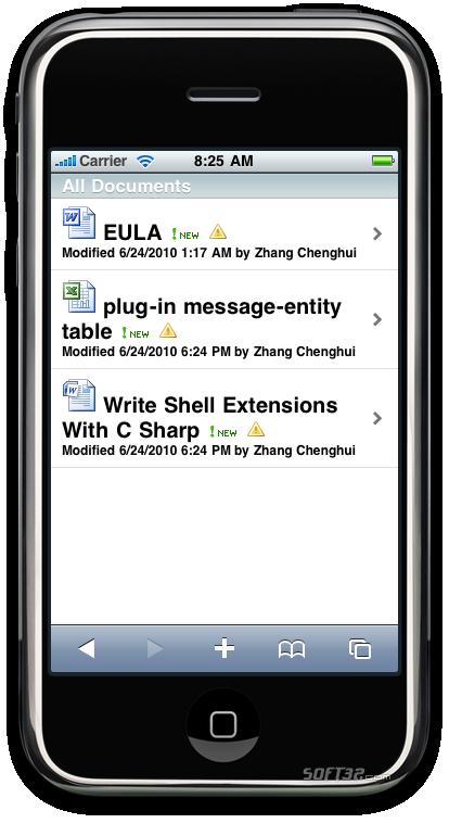 SharePoint IPhone Access Screenshot 1