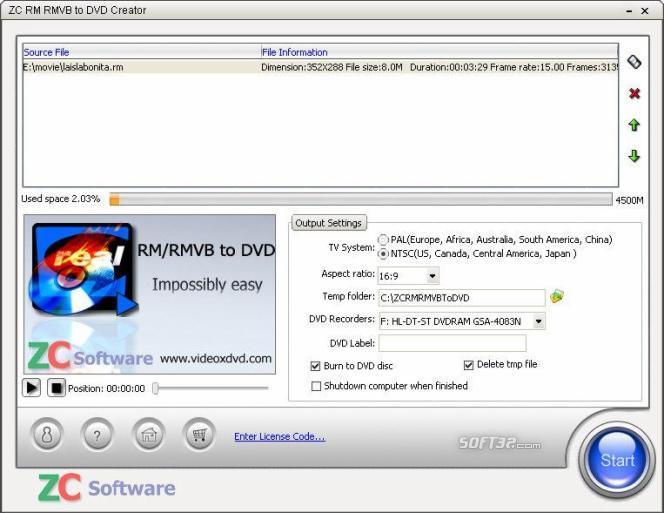 ZC RM RMVB to DVD Creator Screenshot 2
