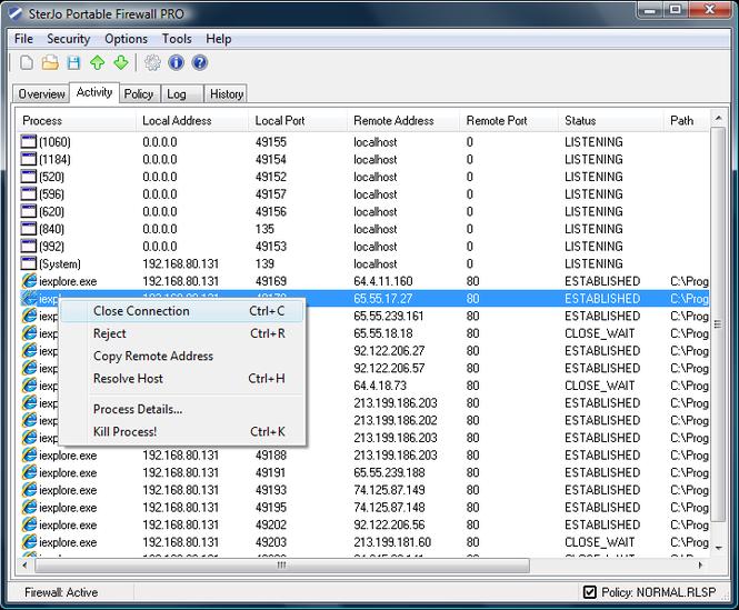 SterJo Portable Firewall PRO Screenshot 3