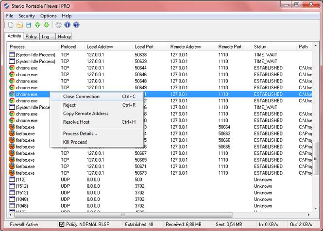 SterJo Portable Firewall PRO Screenshot 1