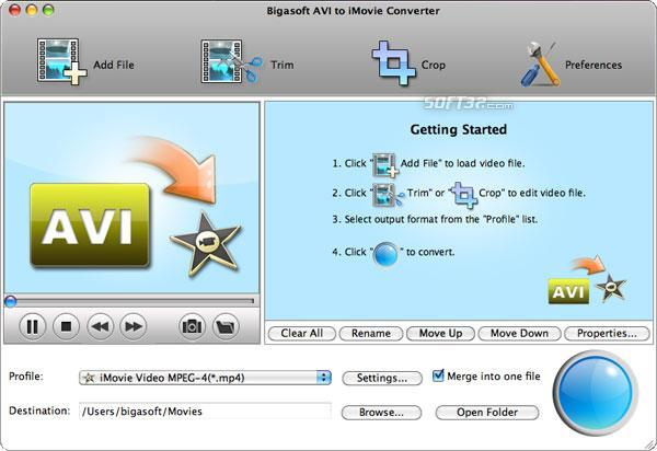 Bigasoft AVI to iMovie Converter for Mac Screenshot 2