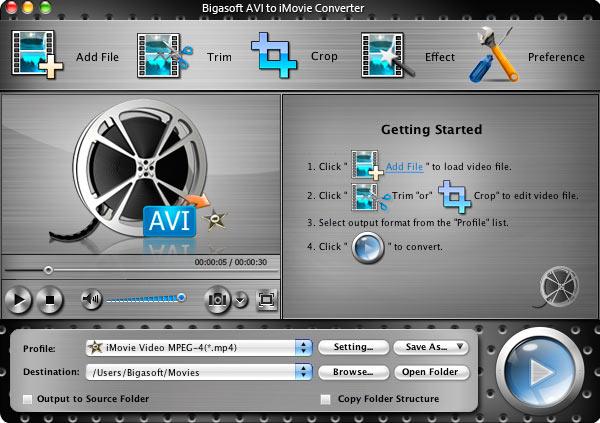 Bigasoft AVI to iMovie Converter for Mac Screenshot