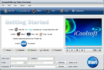 iCoolsoft Blu-ray Video Converter Screenshot