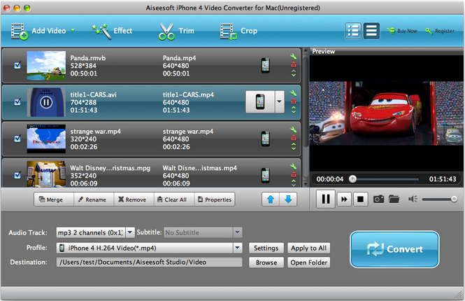 Aiseesoft Mac iPhone 4 Video Converter Screenshot