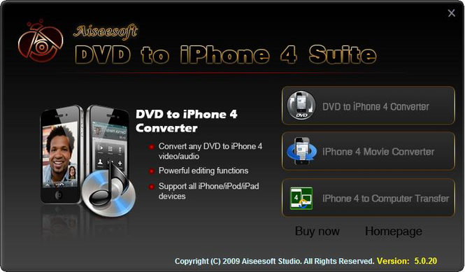 Aiseesoft DVD to iPhone 4 Suite Screenshot