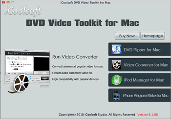 iCoolsoft DVD Video Toolkit for Mac Screenshot