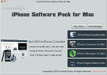iCoolsoft iPhone Software Pack for Mac Screenshot 1