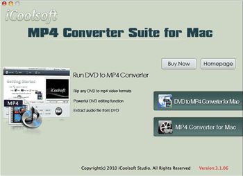 iCoolsoft MP4 Converter Suite for Mac Screenshot