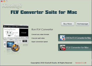 iCoolsoft FLV Converter Suite for Mac Screenshot 1