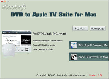 iCoolsoft DVD to Apple TV Suite for Mac Screenshot 1