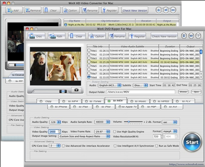 WinX DVD Video Converter Pack - Mac Screenshot