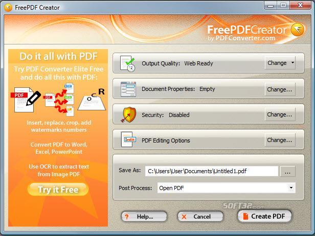 FreePDF Creator Screenshot 2
