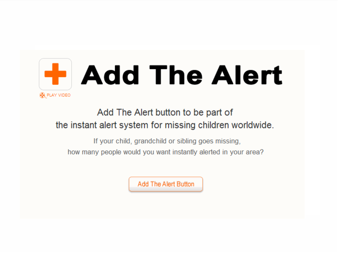 Missing Child Alert Button for IE Screenshot
