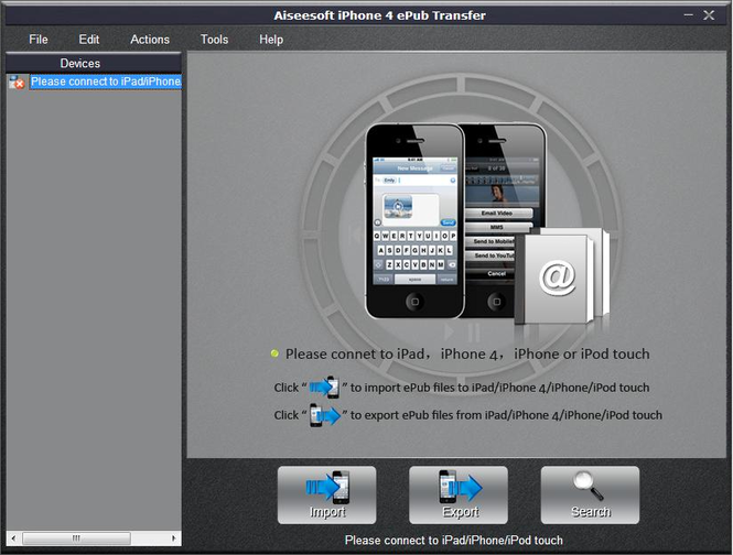 Aiseesoft iPhone 4 ePub Transfer Screenshot