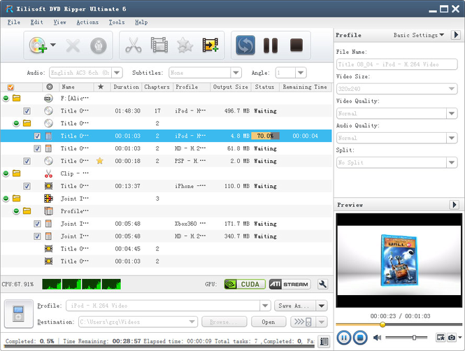 Xilisoft DVD Ripper Ultimate Screenshot 1