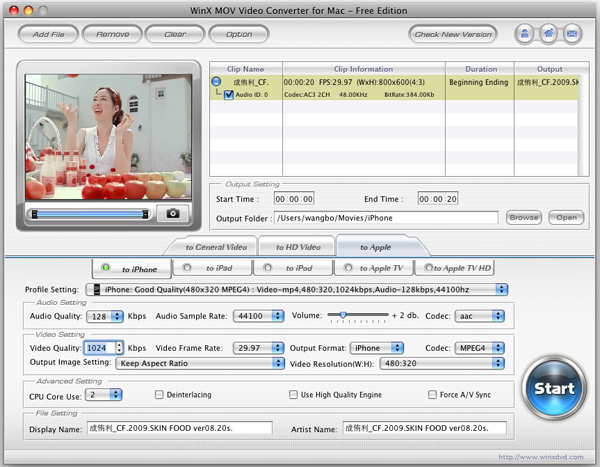 WinX MOV Video Converter for Mac Screenshot