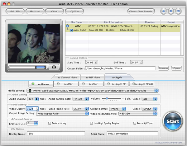 WinX M2TS Video Converter for Mac Screenshot