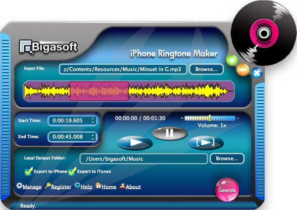 Bigasoft iPhone Ringtone Maker for Mac Screenshot