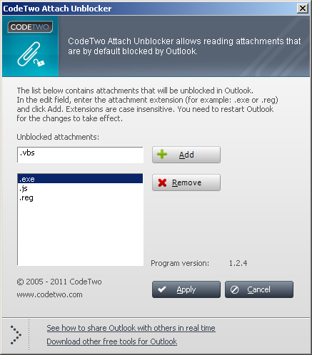 CodeTwo Attach Unblocker Screenshot 1