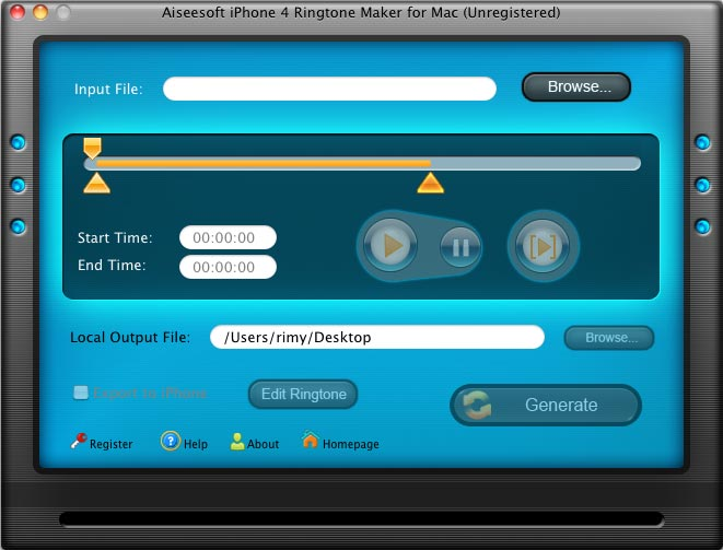 Aiseesoft Mac iPhone 4 Ringtone Maker Screenshot