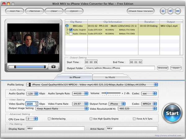 WinX MKV to iPhone Converter for Mac Screenshot 1