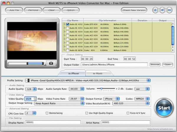 WinX M2TS to iPhone 4 Converter for Mac Screenshot