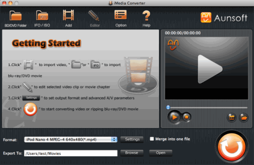 Aunsoft iMedia Converter for Mac Screenshot