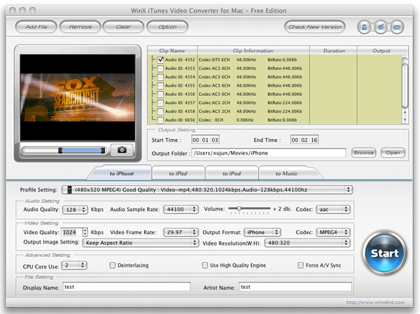 WinX iTunes Video Converter for Mac Screenshot