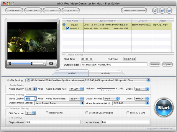 WinX iPod Video Converter for Mac Screenshot 1