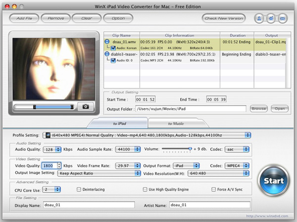 WinX iPad Video Converter for Mac Screenshot