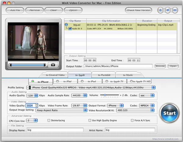 WinX Free Video Converter for Mac Screenshot 1