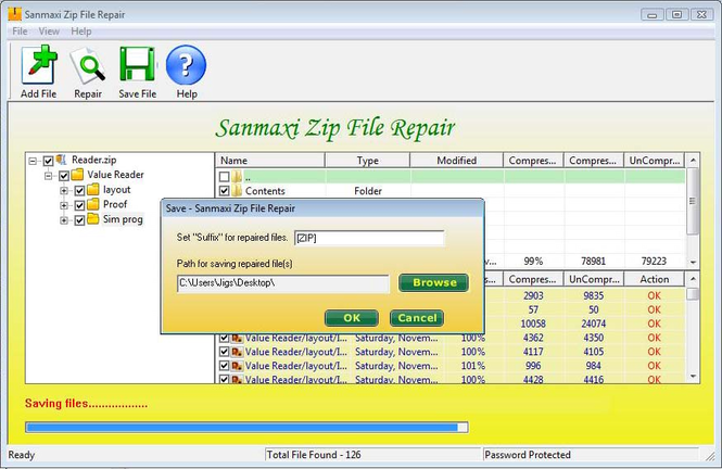 Zip files repair tool Screenshot
