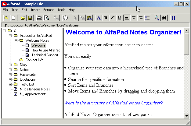 AlfaPad Notes Organizer Screenshot 1