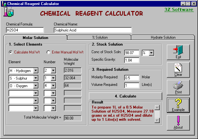 Chemical Reagent Calculator Screenshot 1