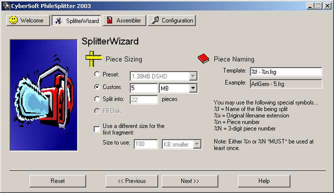 CyberSoft PhileSplitter 2003 Screenshot