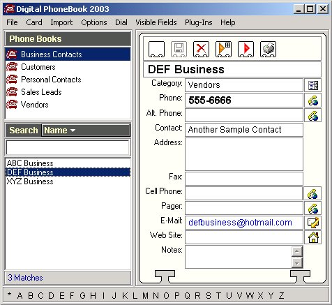 Digital PhoneBook Screenshot