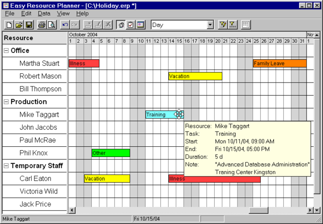 Easy Resource Planner Screenshot