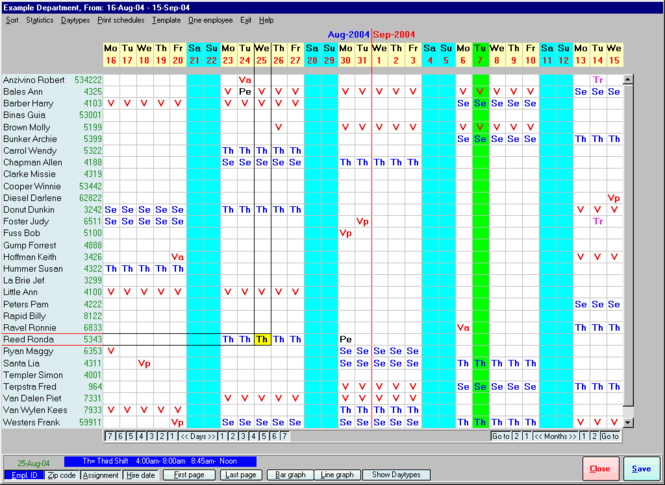 Employee Scheduling Assistant 2000 Screenshot 2