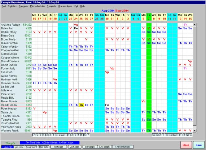 Employee Scheduling Assistant 2000 Screenshot